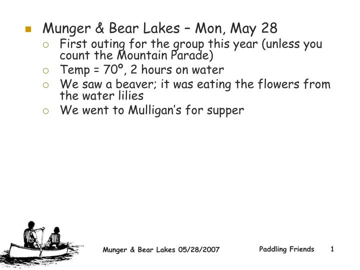 Munger & Bear Lakes – Mon, May 28