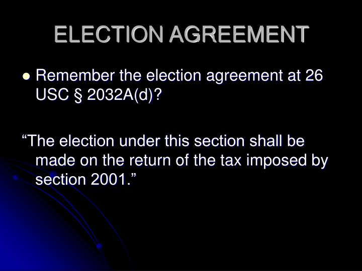 ELECTION AGREEMENT