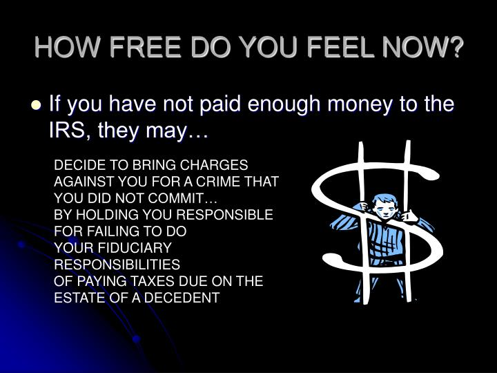 HOW FREE DO YOU FEEL NOW?