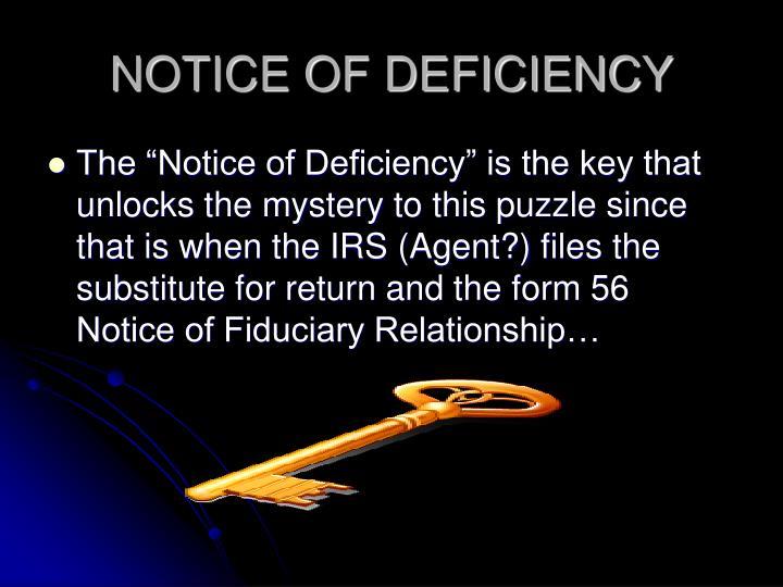 NOTICE OF DEFICIENCY