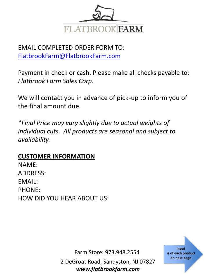 EMAIL COMPLETED ORDER FORM TO: