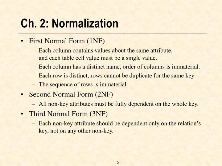 Ch 2 normalization