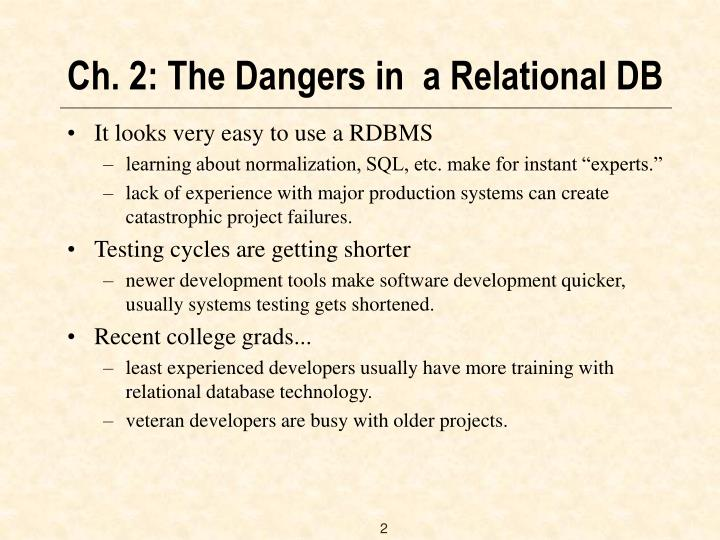 Ch 2 the dangers in a relational db