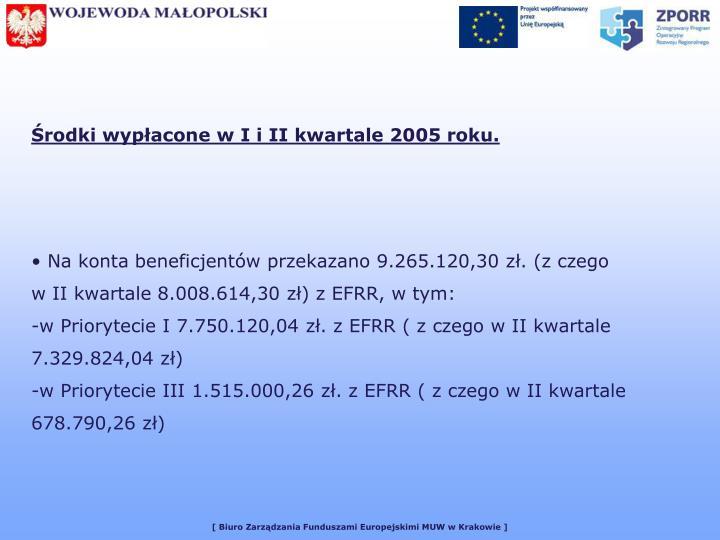 Środki wypłacone w I i II kwartale 2005 roku.