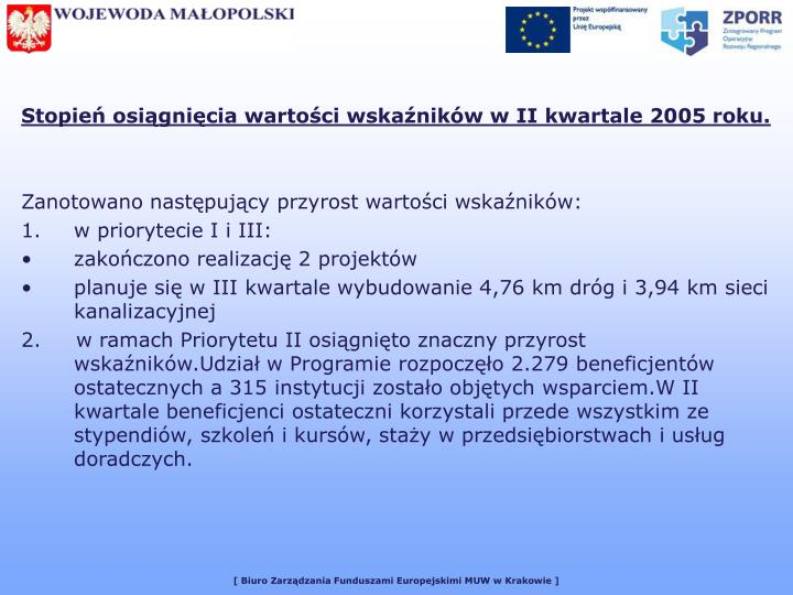 Stopień osiągnięcia wartości wskaźników w II kwartale 2005 roku.