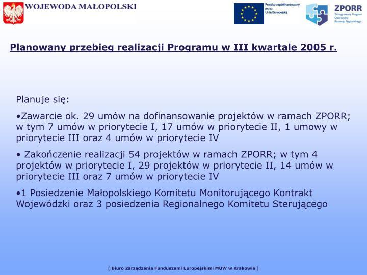 Planowany przebieg realizacji Programu w III kwartale 2005 r.