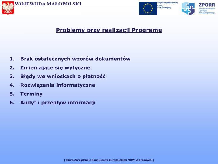 Problemy przy realizacji Programu