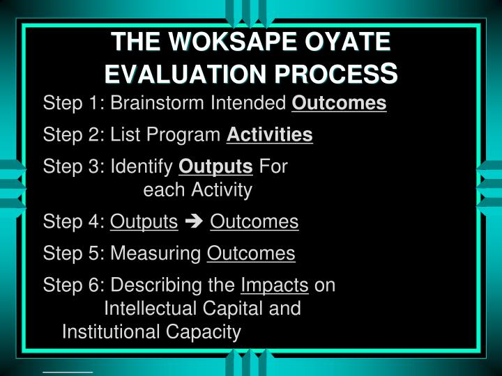 THE WOKSAPE OYATE EVALUATION PROCES