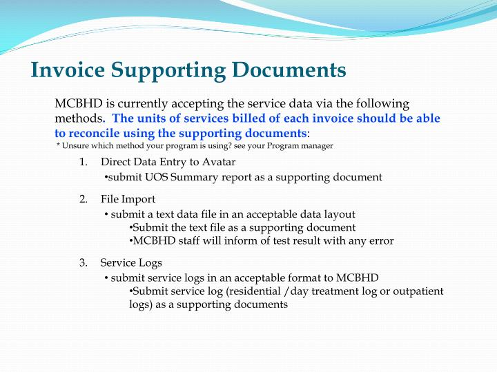 Invoice Supporting Documents