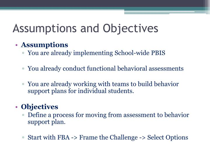 Assumptions and objectives