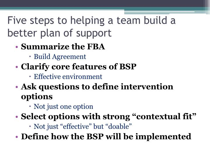Five steps to helping a team build a better plan of support