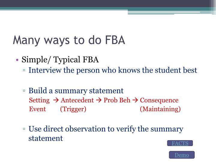 Many ways to do FBA