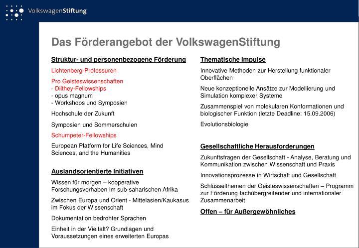 Das Förderangebot der VolkswagenStiftung