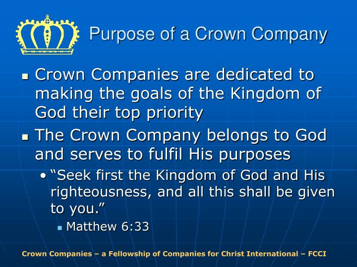 Purpose of a crown company