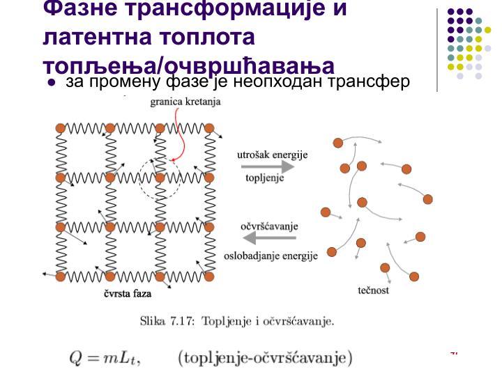 Фазне трансформације и латентна топлота топљења/очвршћавања