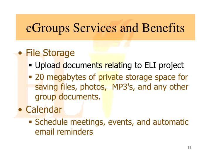 eGroups Services and Benefits
