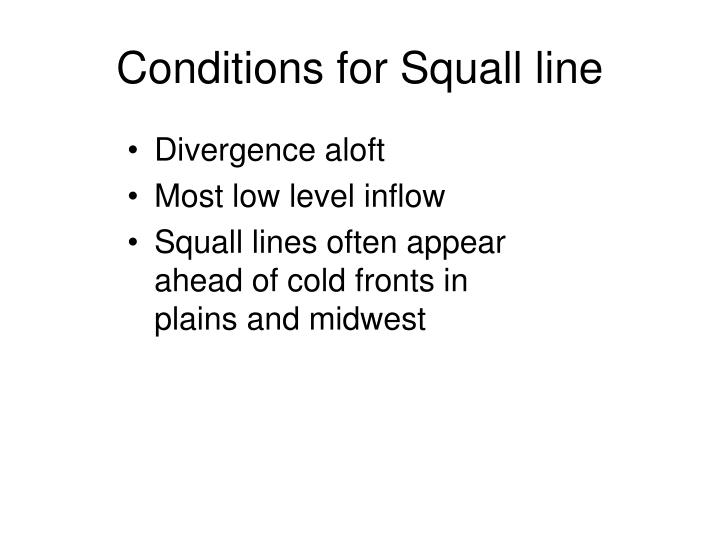 Conditions for Squall line