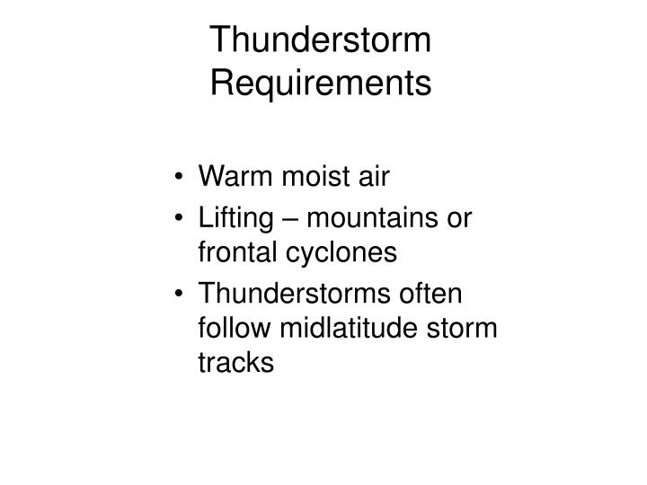 Thunderstorm requirements