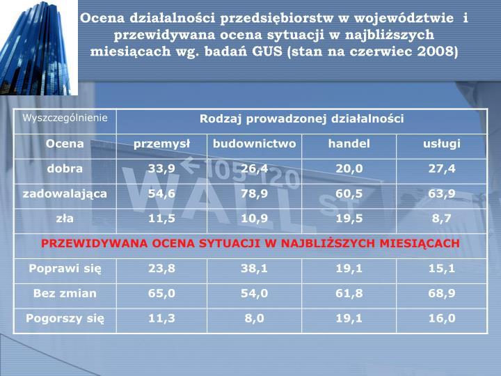 Ocena działalności przedsiębiorstw w województwie  i przewidywana ocena sytuacji w najbliższych miesiącach wg. badań GUS (stan na czerwiec 2008)