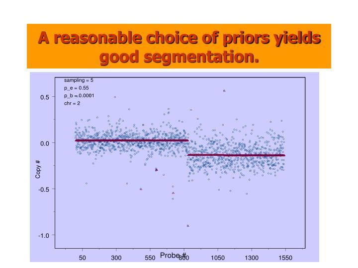 A reasonable choice of priors yields good segmentation.