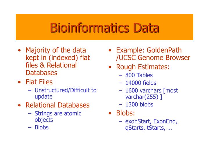 Majority of the data kept in (indexed) flat files & Relational Databases