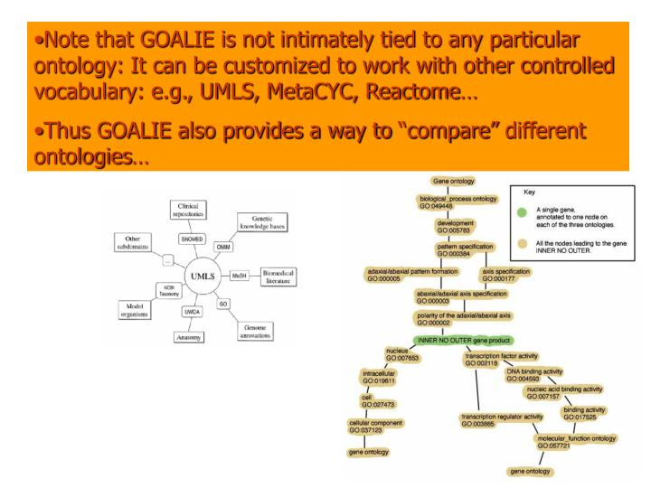 Note that GOALIE is not intimately tied to any particular ontology: It can be customized to work with other controlled vocabulary: e.g., UMLS, MetaCYC, Reactome…