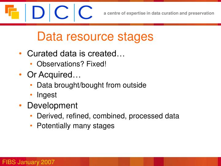 Data resource stages