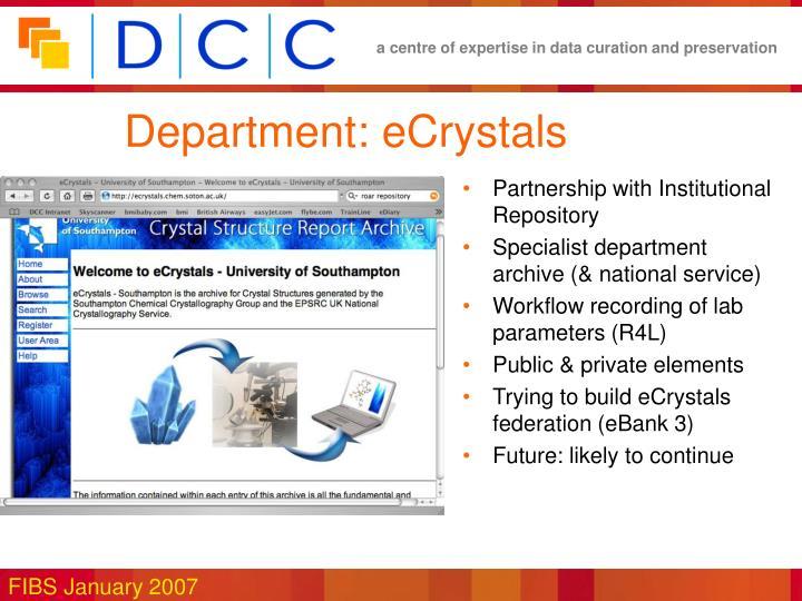 Department: eCrystals