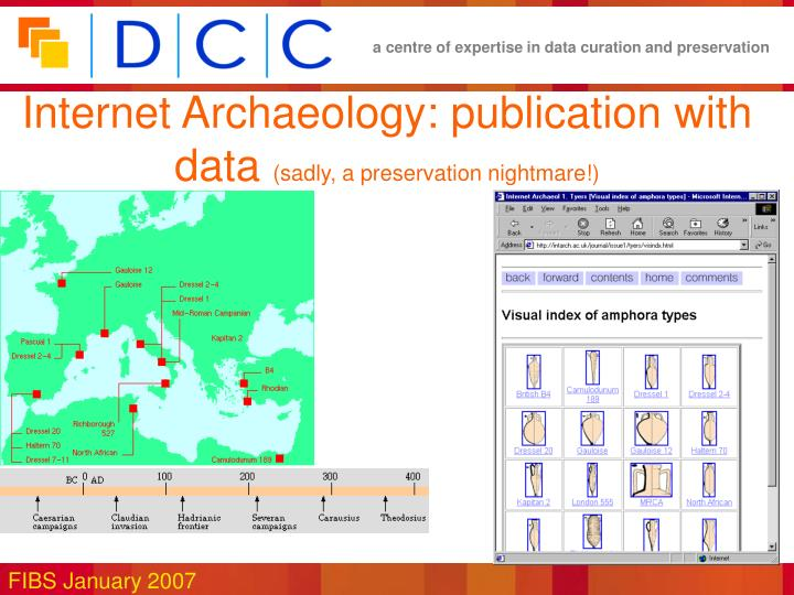 Internet Archaeology: publication with data
