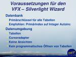 voraussetzungen f r den vfx silverlight wizard