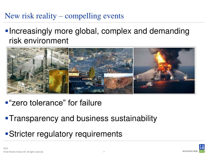 New risk reality – compelling events