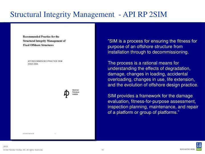 Structural Integrity Management  - API RP 2SIM
