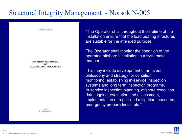 Structural Integrity Management  - Norsok N-005