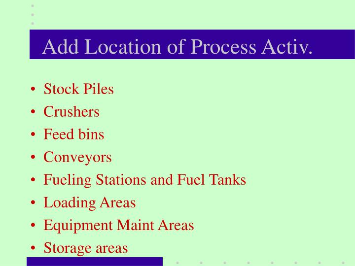 Add Location of Process Activ.