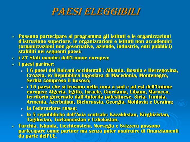 PAESI ELEGGIBILI