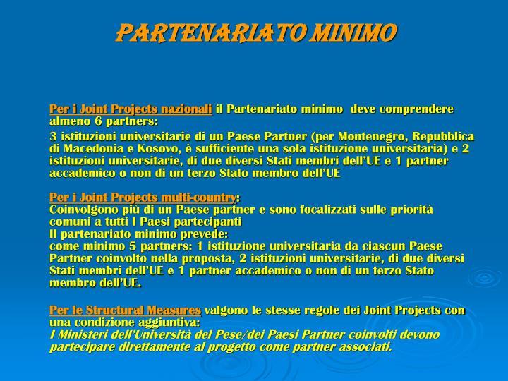 PARTENARIATO MINIMO