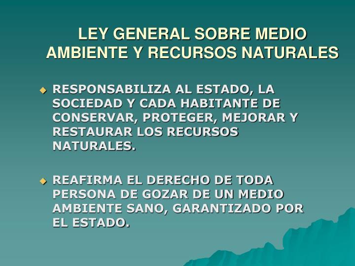 RESPONSABILIZA AL ESTADO, LA SOCIEDAD Y CADA HABITANTE DE CONSERVAR, PROTEGER, MEJORAR Y RESTAURAR LOS RECURSOS NATURALES.