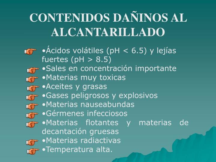 CONTENIDOS DAÑINOS AL ALCANTARILLADO