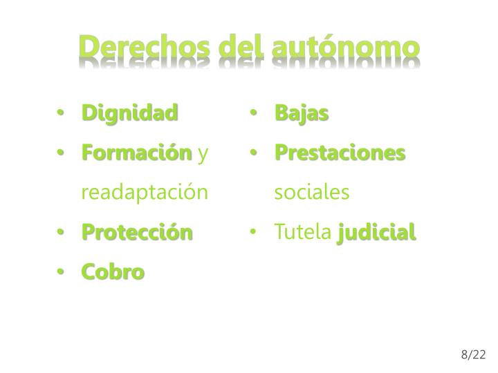 Derechos del autónomo