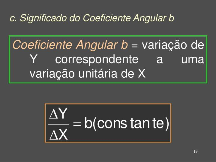 c. Significado do Coeficiente Angular b