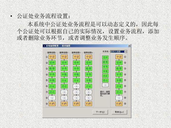 公证处业务流程设置:
