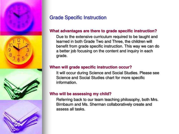 Grade Specific Instruction
