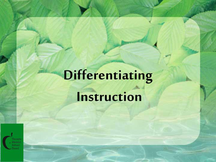 differentiating instruction n.