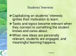 students interests