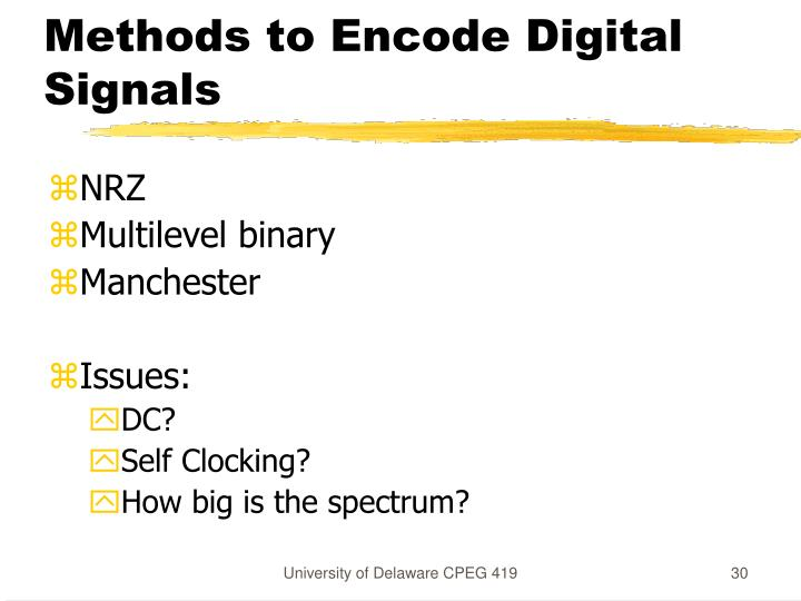 Methods to Encode Digital Signals