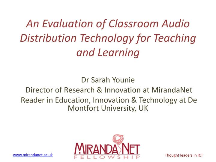an evaluation of classroom audio distribution technology for teaching and learning n.