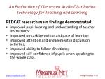 an evaluation of classroom audio distribution technology for teaching and learning3
