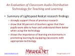 an evaluation of classroom audio distribution technology for teaching and learning5