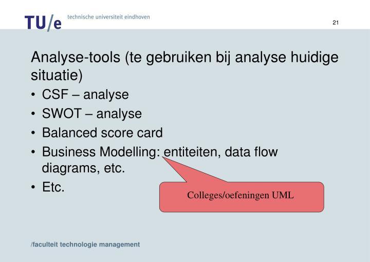 Analyse-tools (te gebruiken bij analyse huidige situatie)