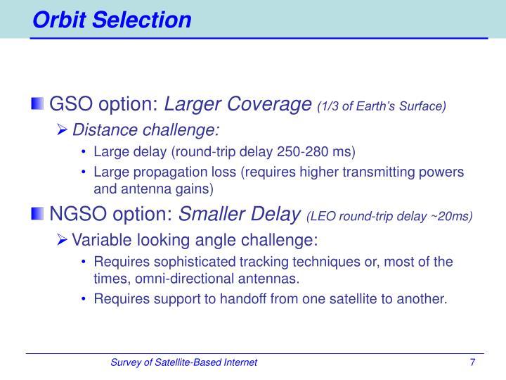 Orbit Selection